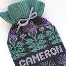 Personalised Thistle Fairisle Hot Bottle