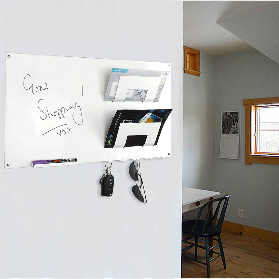 Magnetic memo board letter rack and key hook by the metal house limited - Wall mounted letter holder and key rack ...