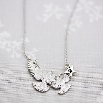 Hammered Metal Bird Necklace