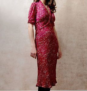 Sable Midi Dress In Ruby Heart Print - dresses