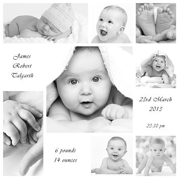 Baby Christening Photo Montage Canvas