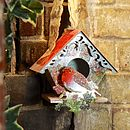 Decoupage Paper Bird House With Robin