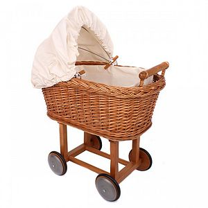 Cream Wicker Pram - traditional toys & games