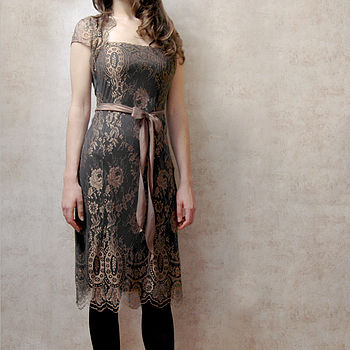 Olivia Dress In Green And Gold Lace