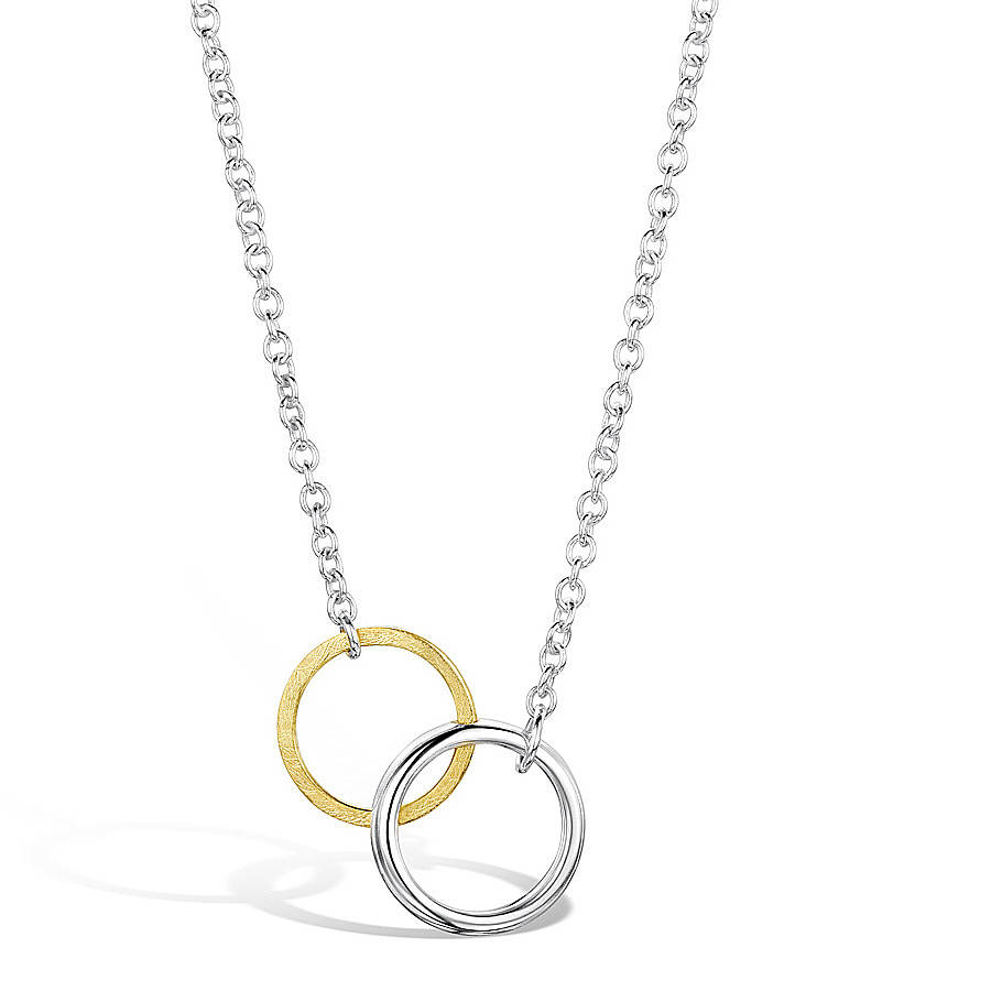 Interlocking gold and silver twin circle pendant by shona jewellery interlocking gold and silver twin circle pendant aloadofball Image collections
