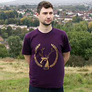 Organic Mens 'Simon The Stag' T Shirt - christmas jumpers & fancy dress
