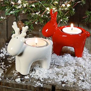 Ceramic Reindeer Tealight Holder - votives & tealights