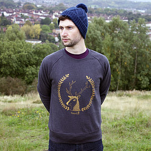 Organic Mens 'Simon The Stag' Sweater