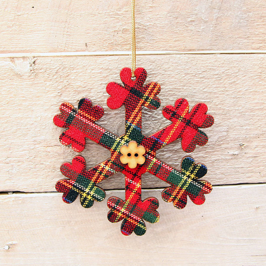 Red Berry Christmas Tree Decorations : Set of two tartan christmas tree decorations by red berry