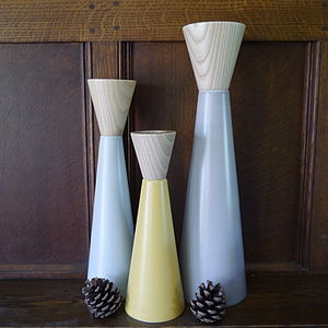 Contemporary Ceramic And Wood Candlestick - candles & home fragrance