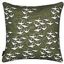 Olive Green Geese Print Cushion