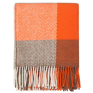 Orange Checked Throw - blankets & throws