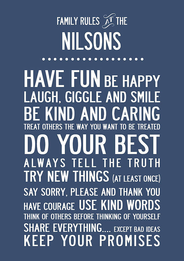 personalised family rules print by i love art london