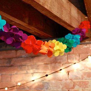 Multi Coloured Square Paper Cut Out Garland - room decorations