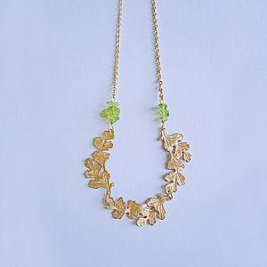 Boleyn Peridot And Oak Leaf Necklace