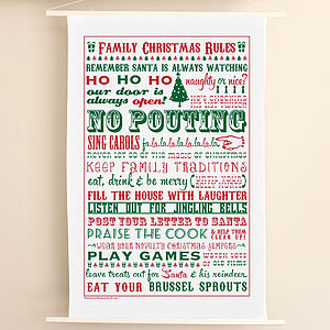 Family Christmas Rules Tea Towel - christmas parties & entertaining