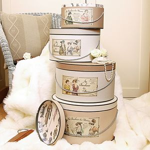 Set Of Four Vintage Lady Luxury Boxes - gift boxes