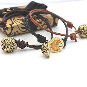 Leather Friendship Bracelet With Gold Locket - lockets