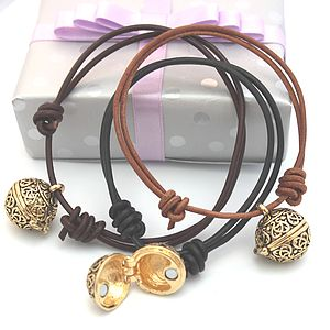 Leather Friendship Bracelet With Gold Locket