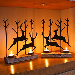Pair Of Leaping Reindeer Tealight Decorations - weddings sale