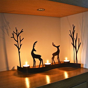 Curved Christmas Reindeer Tealight - nativity scenes & table-top figures