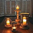 Mango Wood And Glass Chimney Lantern