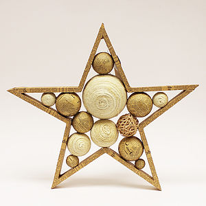 Star Shape With Wood And Newspaper Balls - christmas home accessories