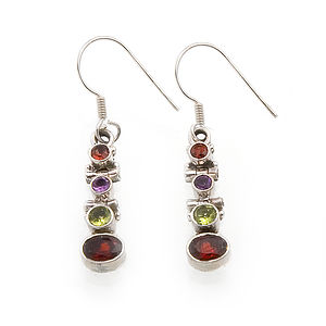 Multi Colour Gemstone Silver Earrings - earrings