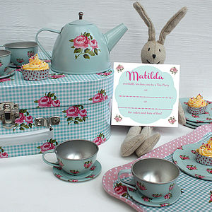 Rosebud Tea Set With Personalised Invitations - more
