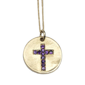 9ct Gold Cross Pendant - gold & diamonds