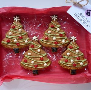 Four Christmas Tree Dog Cookies - shop by price