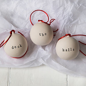 Deck The Halls Ceramic Christmas Baubles