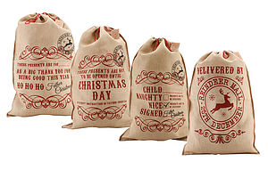 Jute Father Christmas Sacks - ribbon & wrap