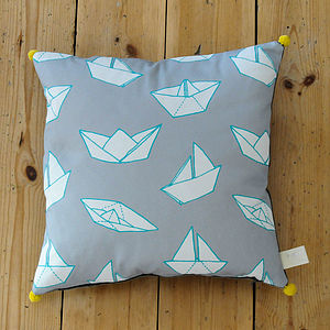 Boats Pom Pom Square Cushion - cushions
