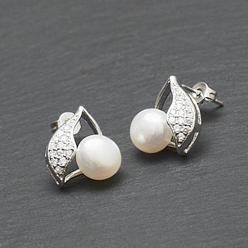 Crystal Encrusted Pearl Earrings