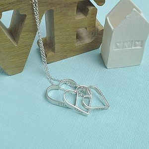 Personalised Hanging Heart Trio Pendant