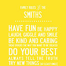 Personalised Family Rules. 155 Colours. Five Sizes