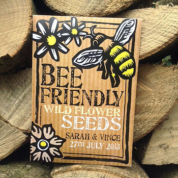 Pack Of 20 Personalised Bee Friendly Wedding Favours