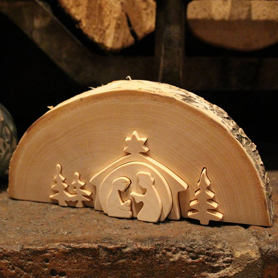 traditional wooden nativity scene by nest ...