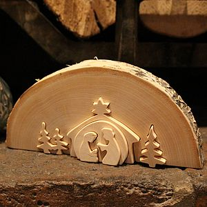 Traditional Wooden Nativity Scene - sculptures