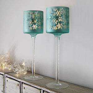 Snowflake Tall Stem Votive - candles & candlesticks