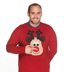 Squeaky Nose Rudolph Christmas Jumper