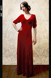 Sibi Dress In Deep Red Velvet - christmas party wear