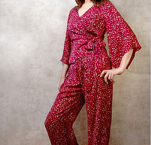 Palazzo Pyjama Set In Ruby Heart Print - loungewear