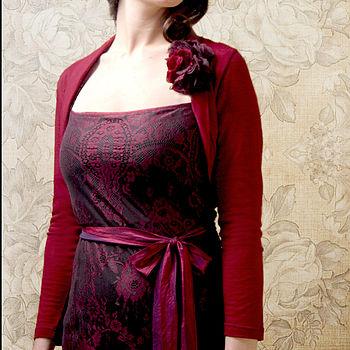 Belle Shrug In Deep Red Fine Knit