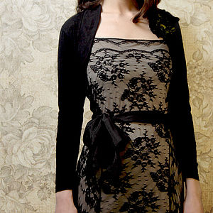 Belle Shrug In Black Fine Knit - women's fashion