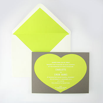 Rousham Heart Shaped Invitation Green