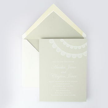 Levens Lace Detail Wedding Invitation Beige