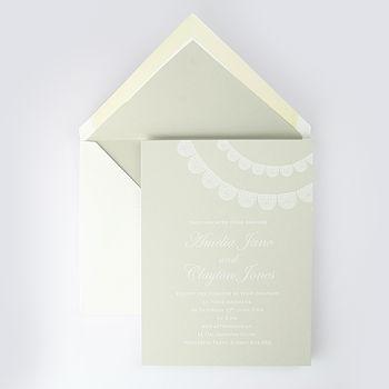Levens Lace Detail Wedding Invitation Beige