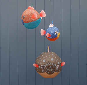 Set Of Three Bubble Fish Paper Balloons - children's parties